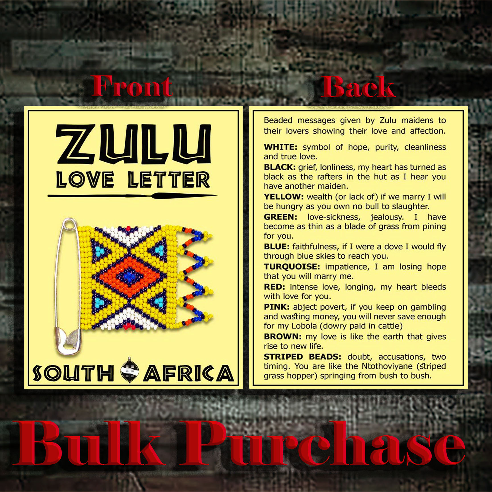 Y7 Zulu Love Letter Card (Card Only)
