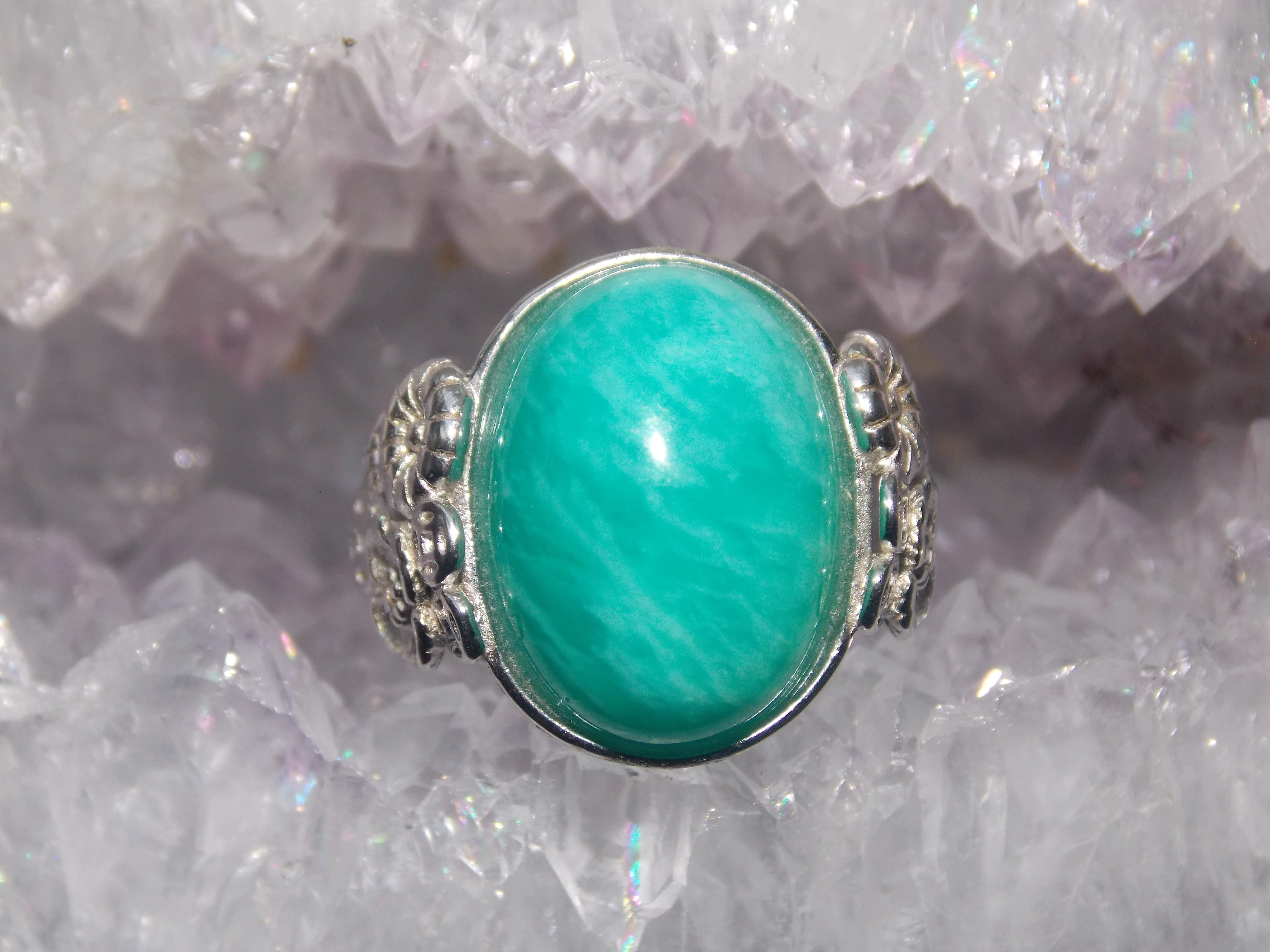 Amazonite, 925 fine silver adjustable rings