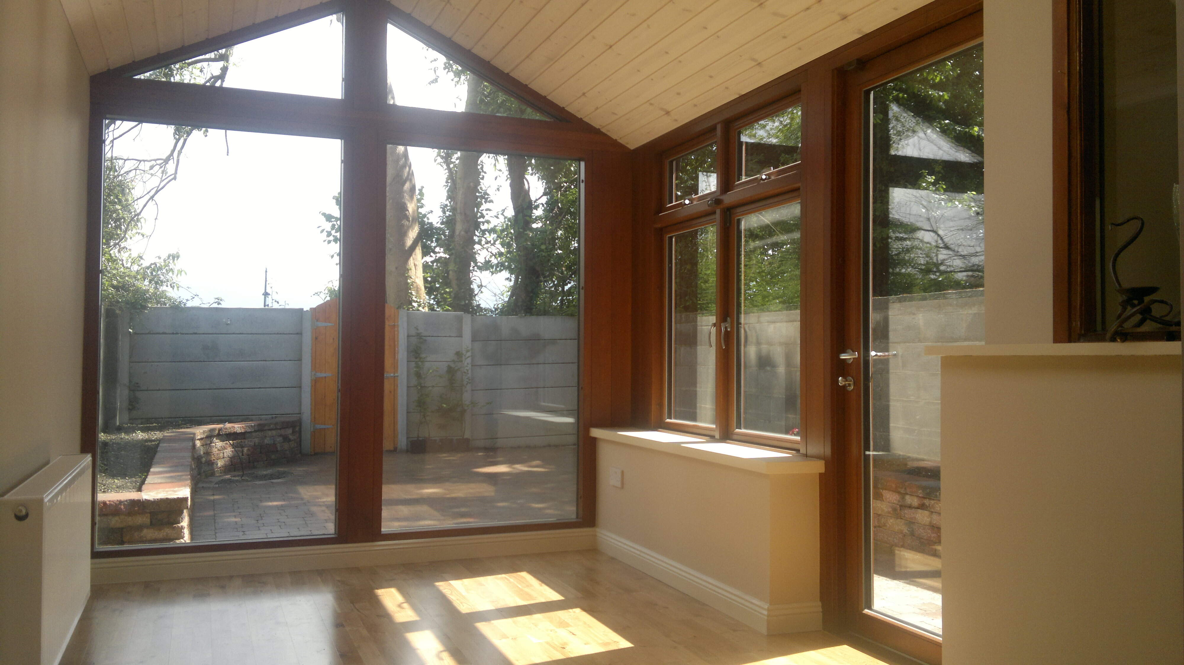 Interior of nut stained sunroom