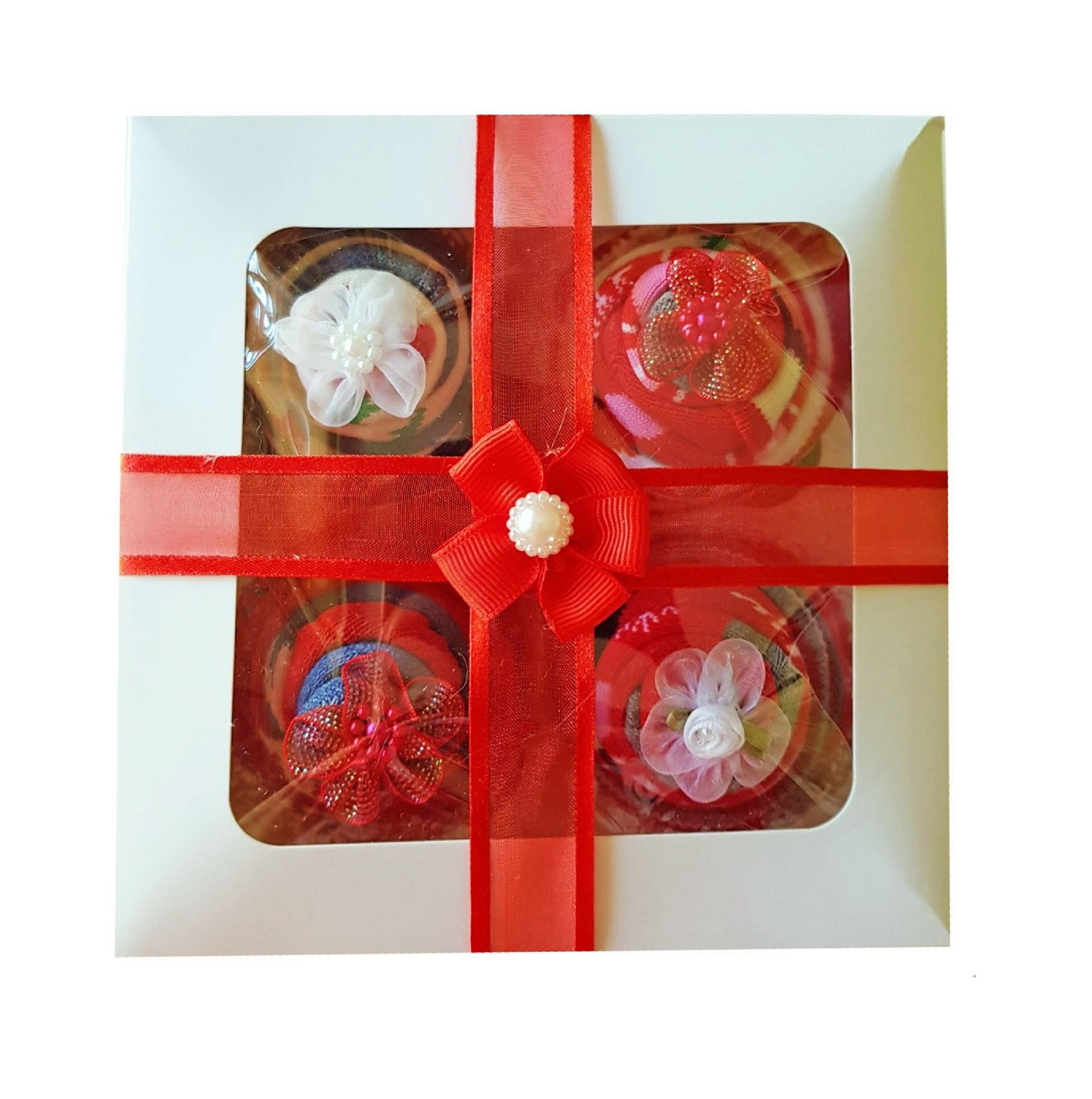 Women's Christmas Sock Cupcakes - Red Ribbon Gift Box