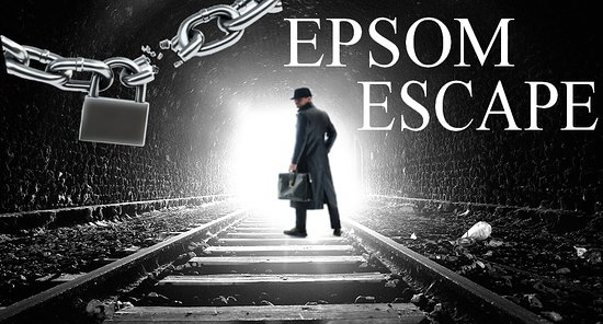 Epsom Escape logo showing a man with a briefcase on a train line in a tunnel