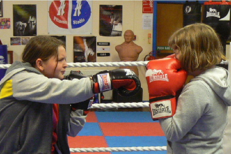 Girls boxing at AA Fitness Studio Dumfries