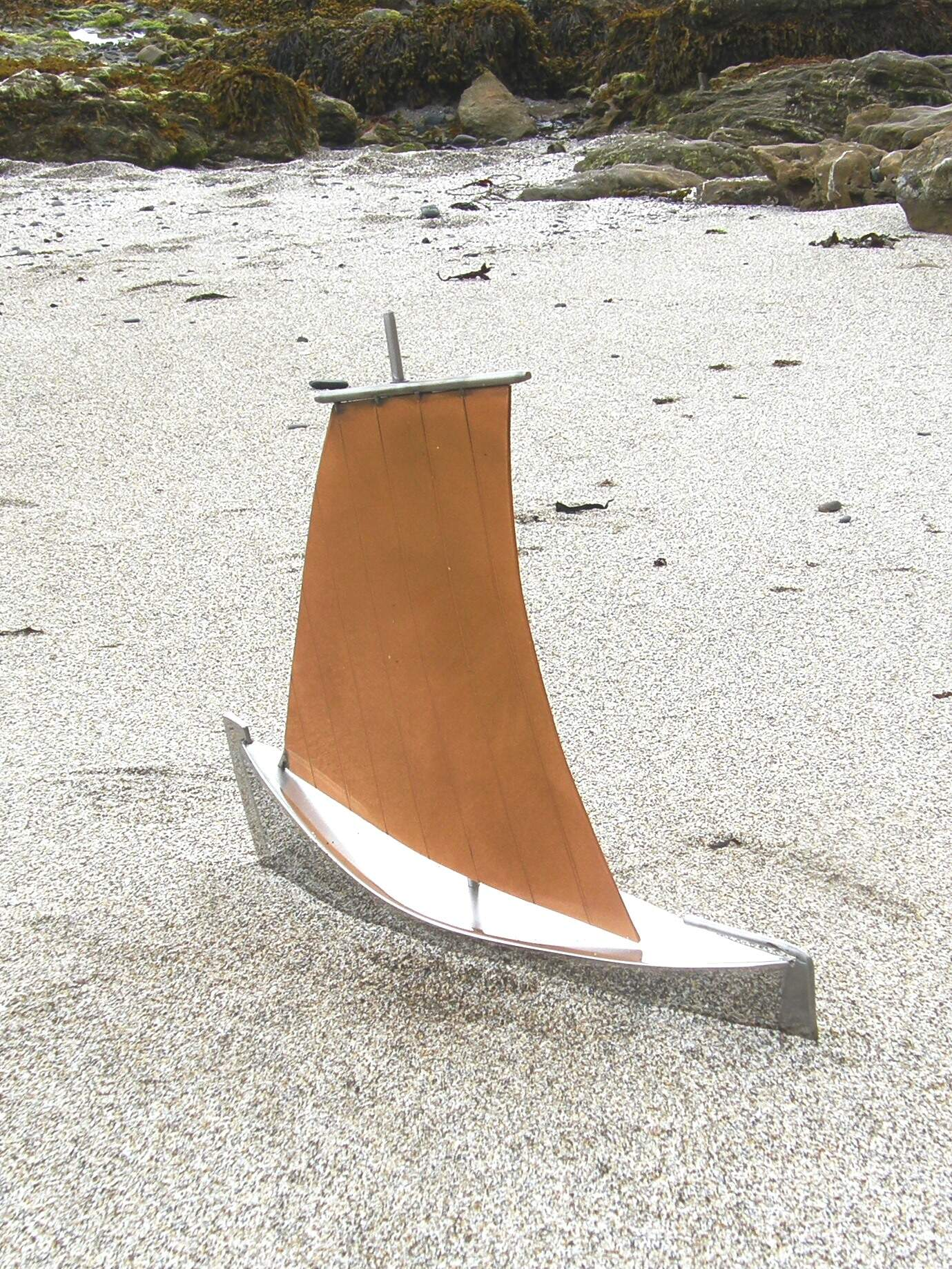Breton Style Sailing Boat port side - Handmade in Stainless Steel & Brushed Copper