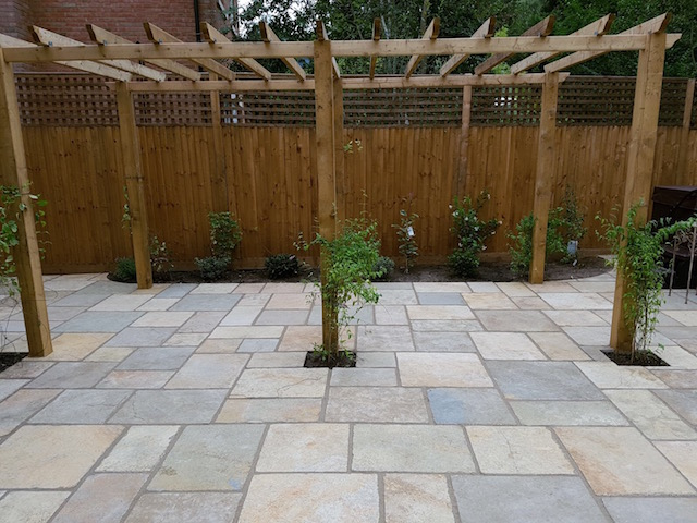 Natural stone patio Sunningdale