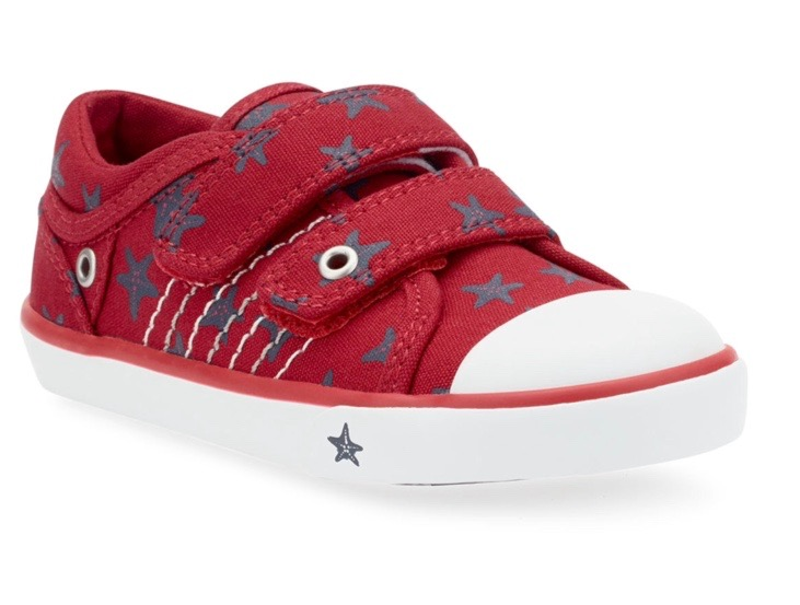 Red baseball style trainer for toddler girls