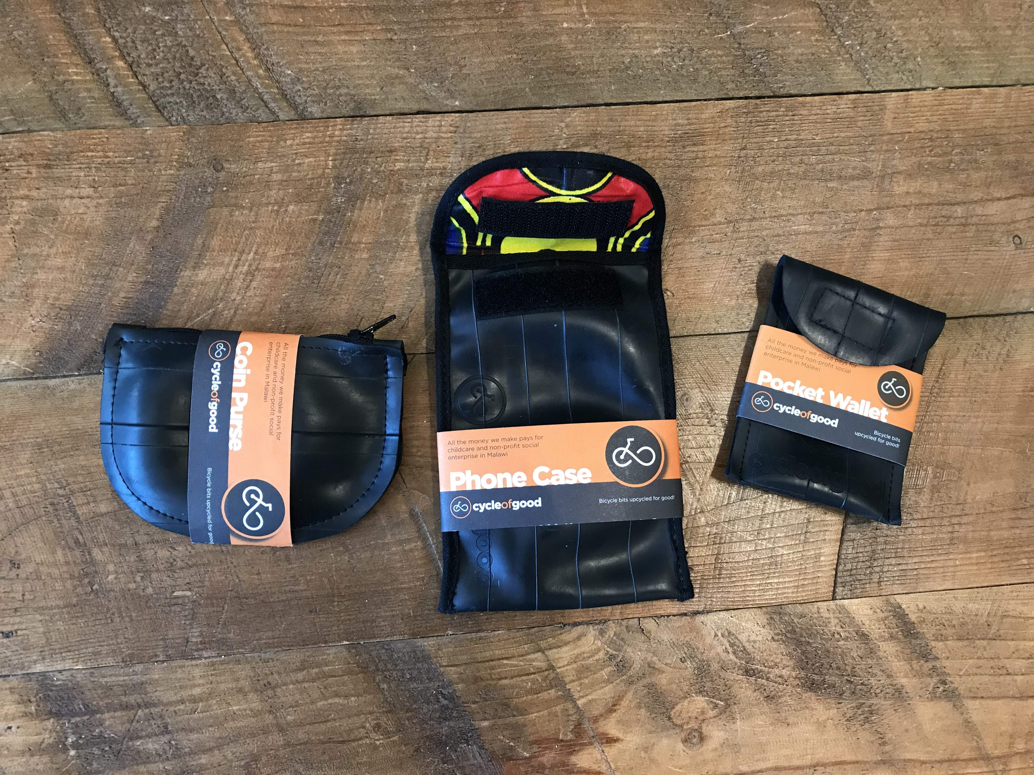 Recycled Wallets, Phone Case and Coin Purse.