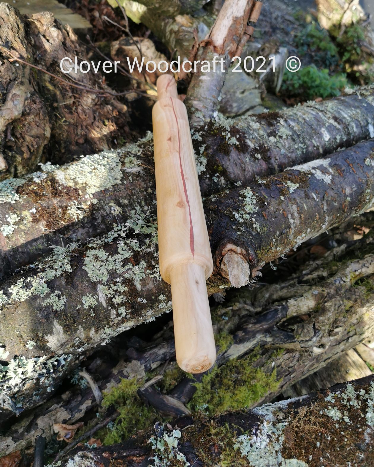 Irish Apple Wood Turned Rolling Pin with a Copper Epoxy Inlay