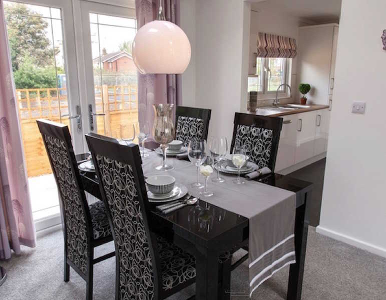 A park home dining area at Helsby Park, Frodsham, Cheshire
