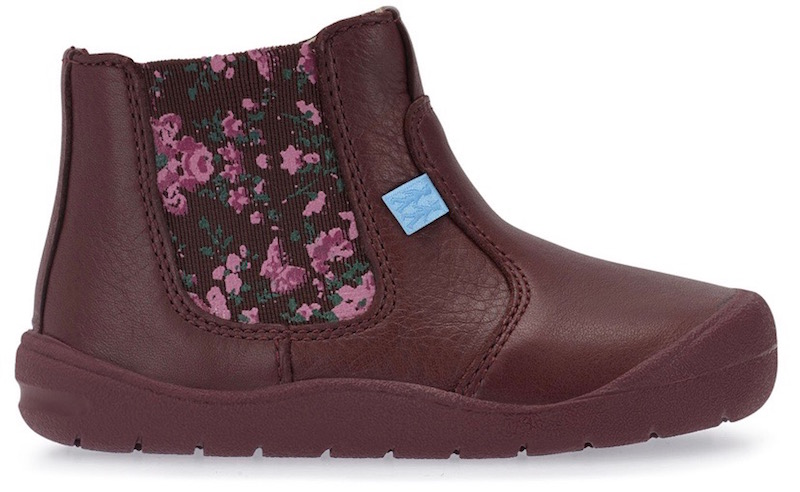Burgundy leather toddler girls boots with floral inset