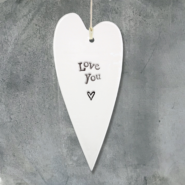 East Of India 'Love You' Porcelain Heart