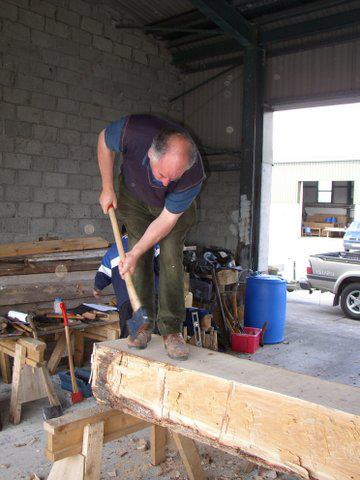 Edward Byrne preparing lumber