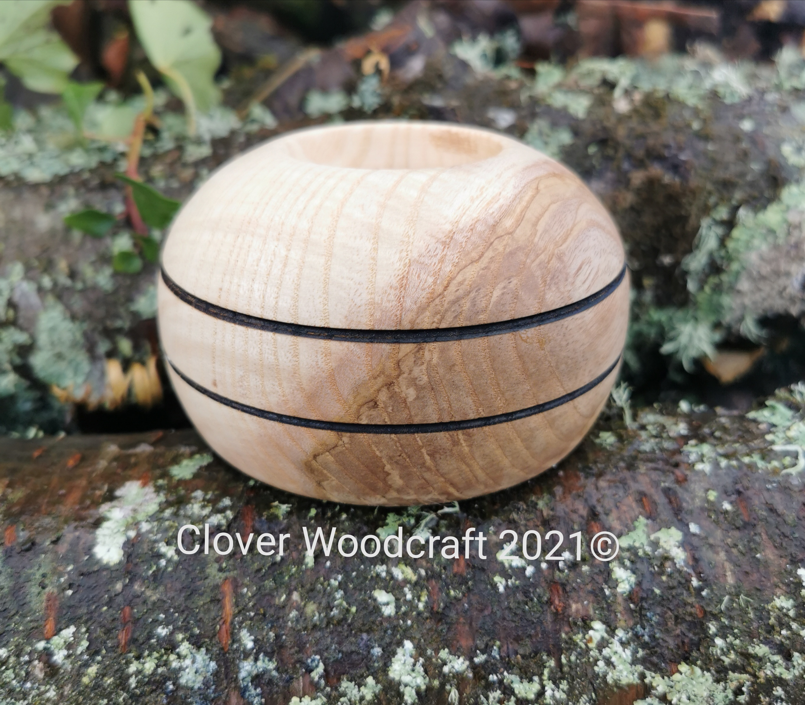 Irish Flame Olive Ash Wood Turned Tealight Candle Holder
