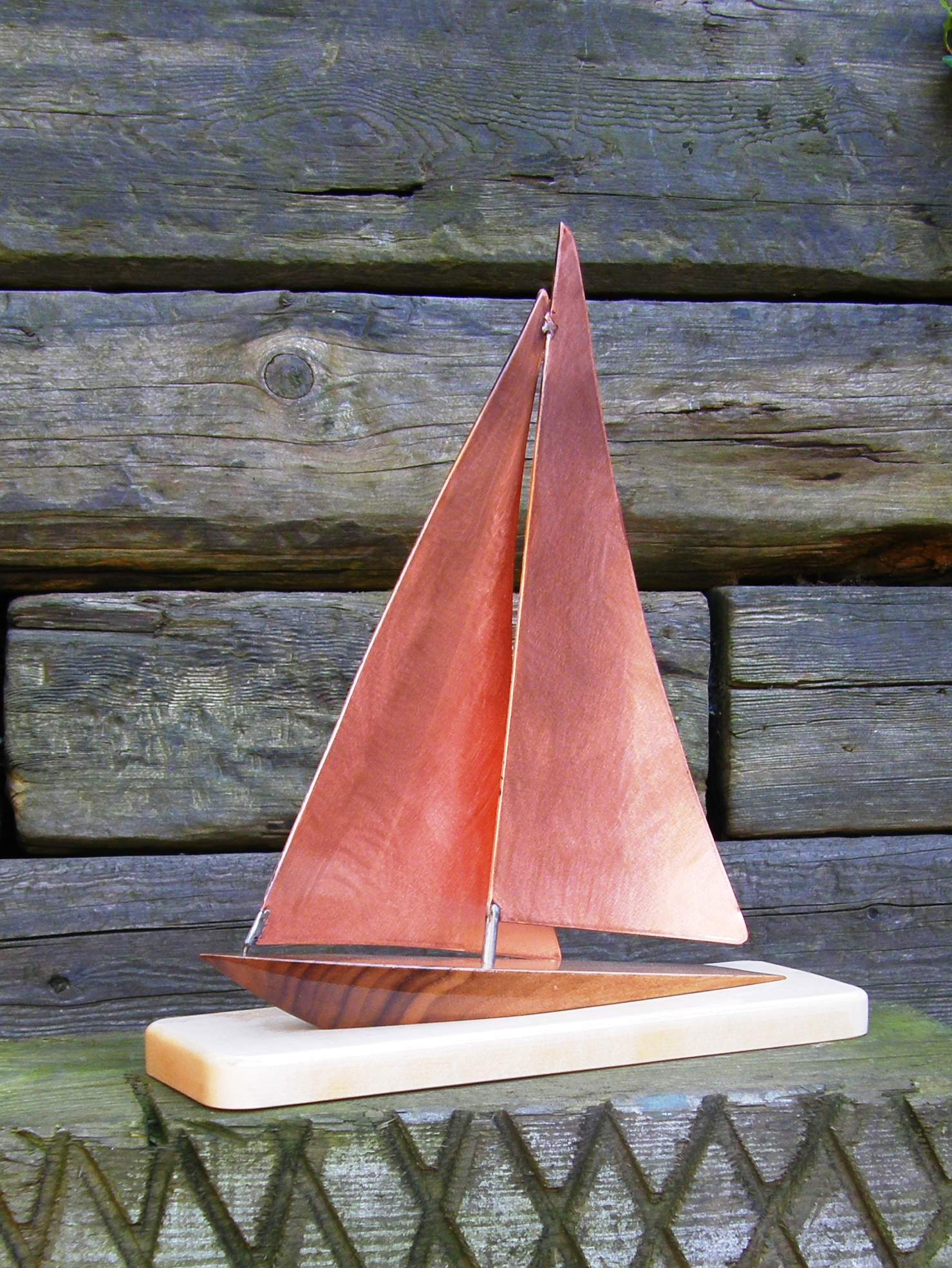 Limited Edition Yacht Design Handmade in Copper with Walnut Hull on Maple base