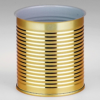 40 In A Box  No13. Tin Can with Ring-pull Lid diameter 99mm x 119mm high with bead lines.