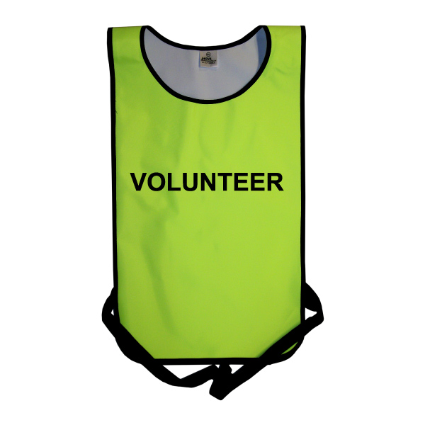 Adults Hi Vis Yellow Tabard printed Volunteer.