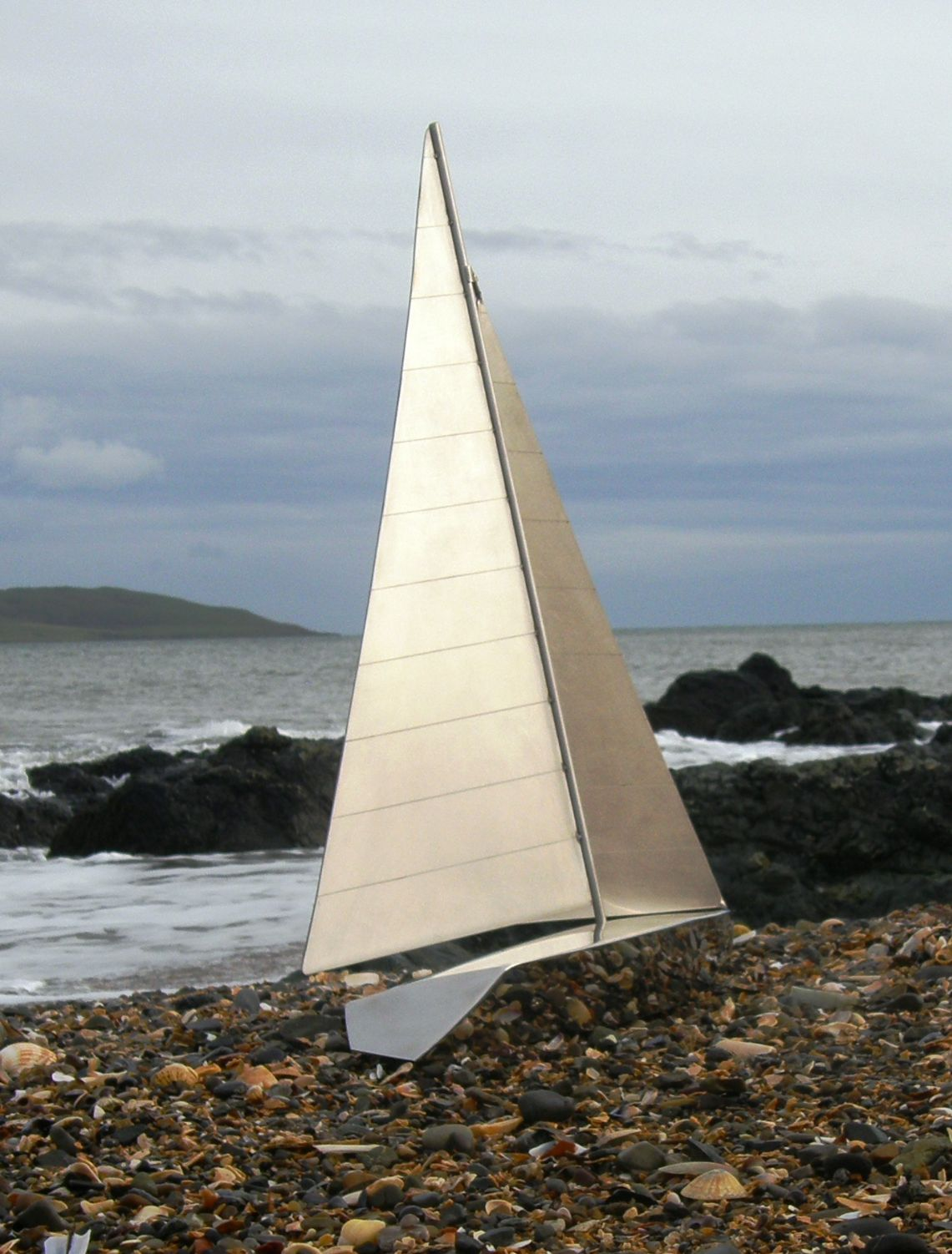 One off Yacht Model in Highly Polished & Brushes Stainless Steel - Overall height 660mm.
