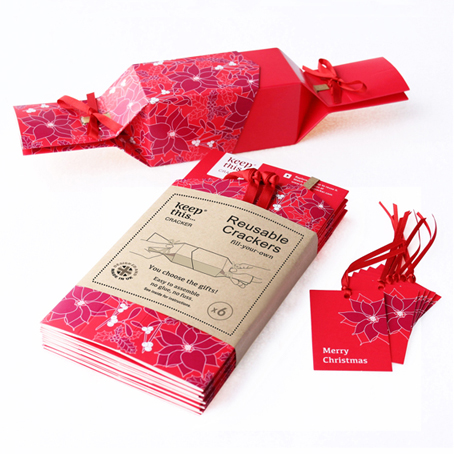 6 Reusable Eco Crackers - 'Festive Floral' design - with FREE tags