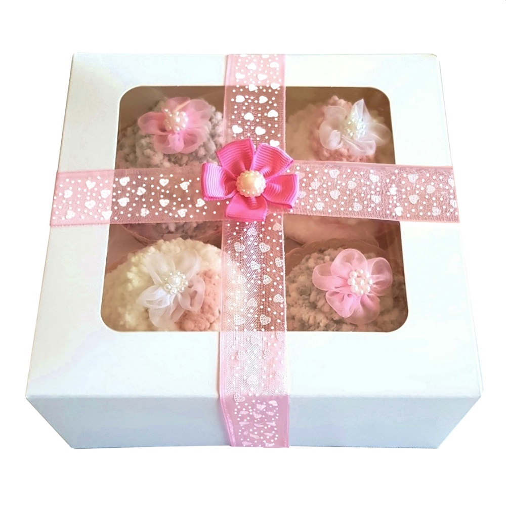 Women's 'Popcorn Cozy Sock' Cupcakes, Pink Ribbon Gift Box