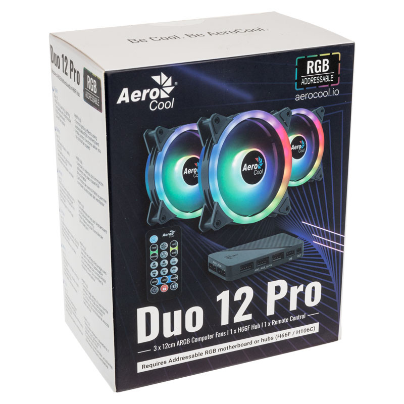 DUO 12 PRO RGB LED FAN WITH CONTROLLER - 120MM - TRIPLE PACK