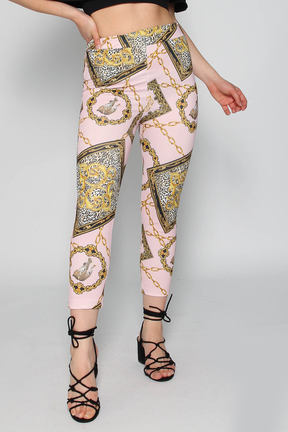 Chain print legging light pink