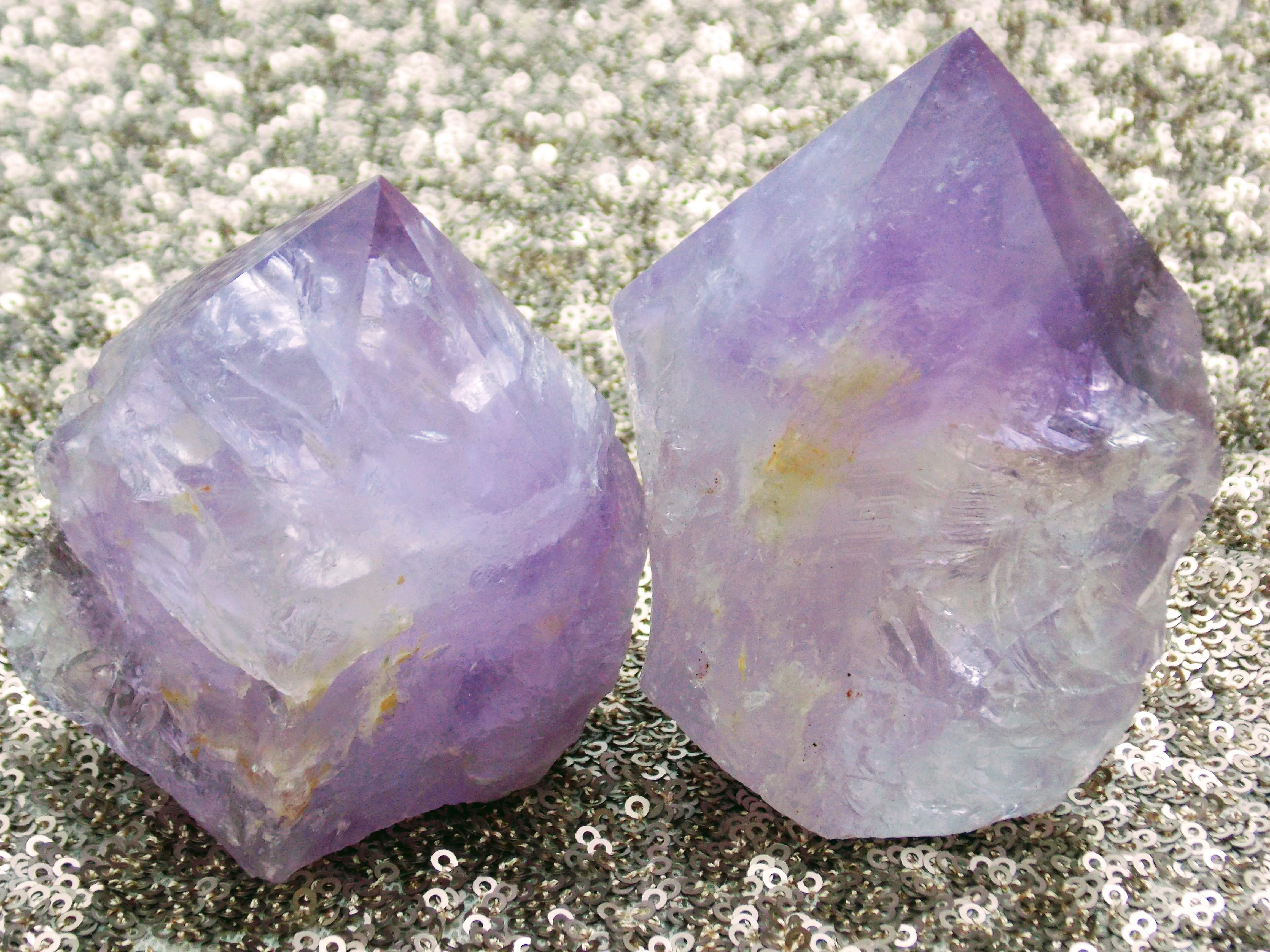 Pale Amethyst,  Rough and Polished Point