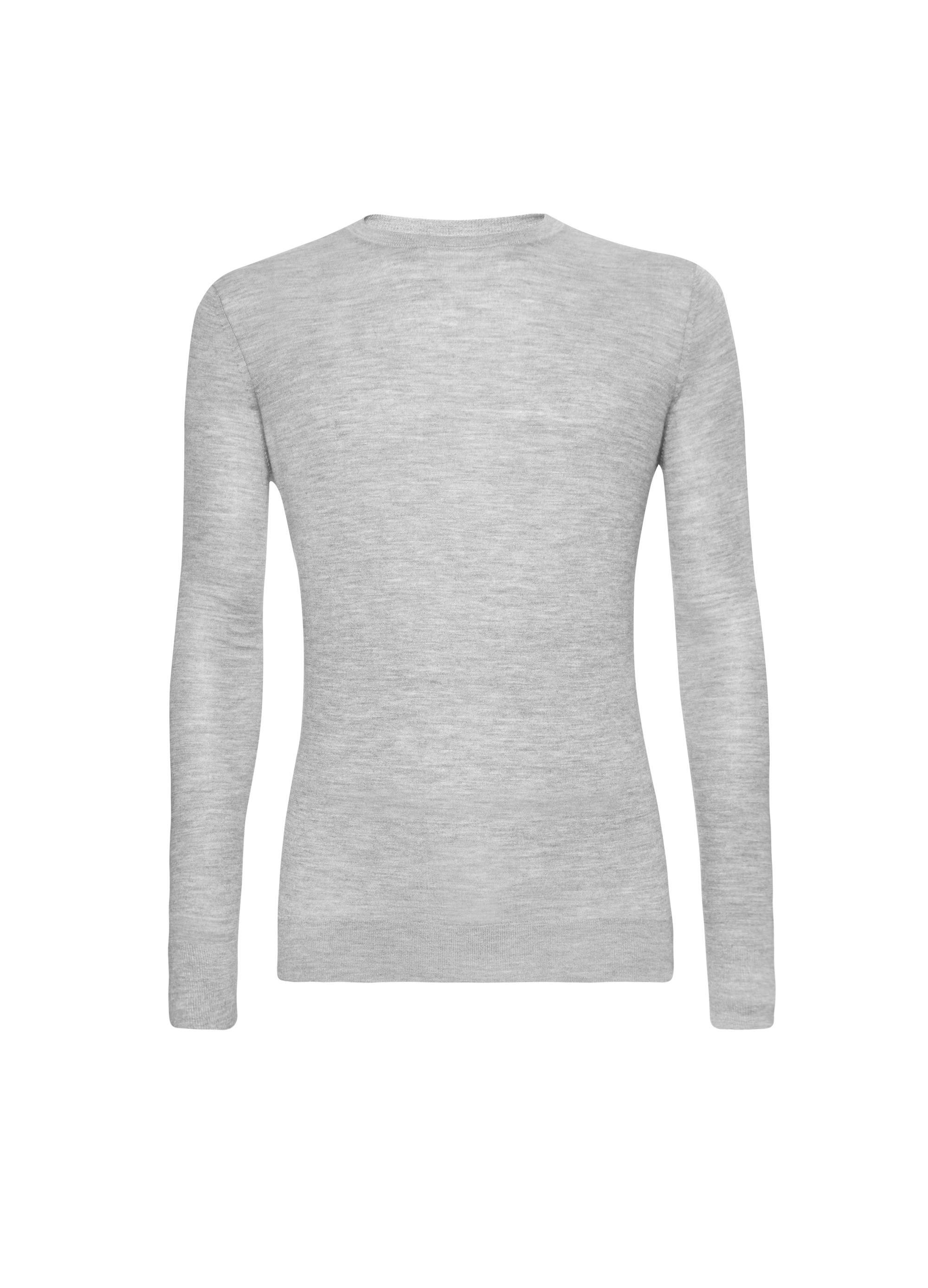 Round Neck Silk & Cashmere Light Grey 02