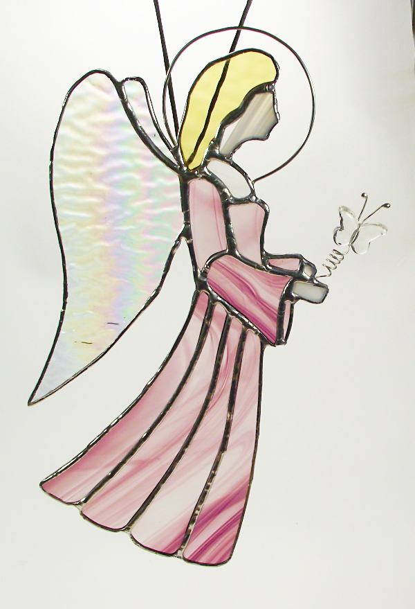 A large stained-glass angel suncatcher