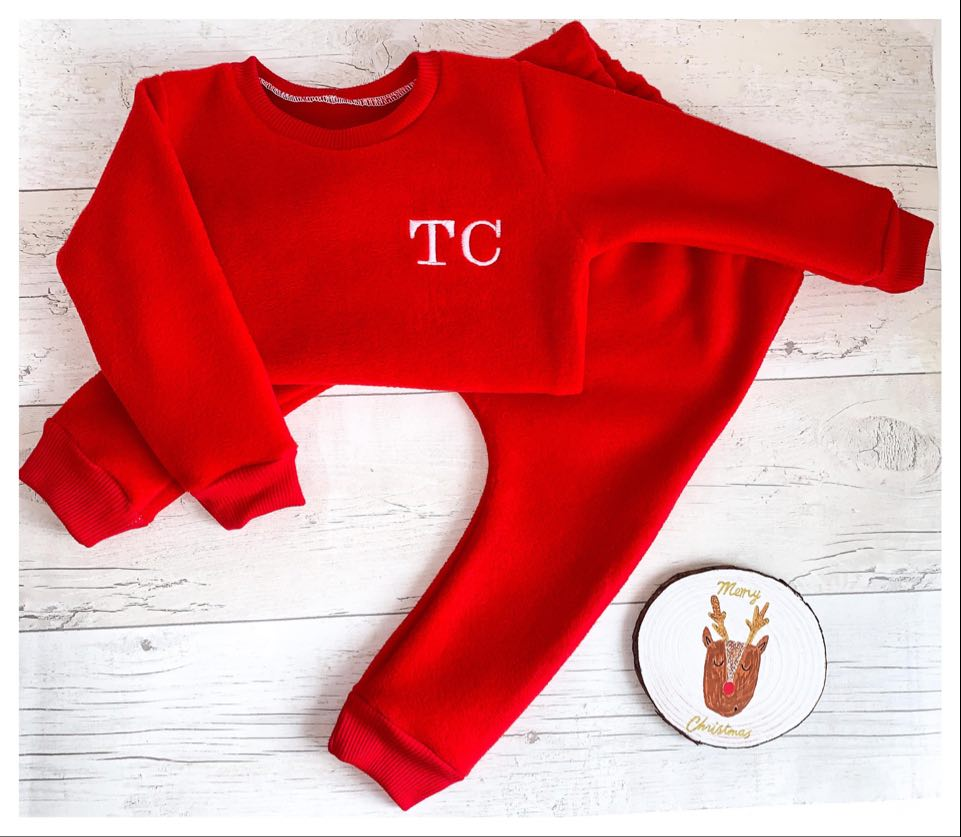 Red Fleece Sweatshirt Set