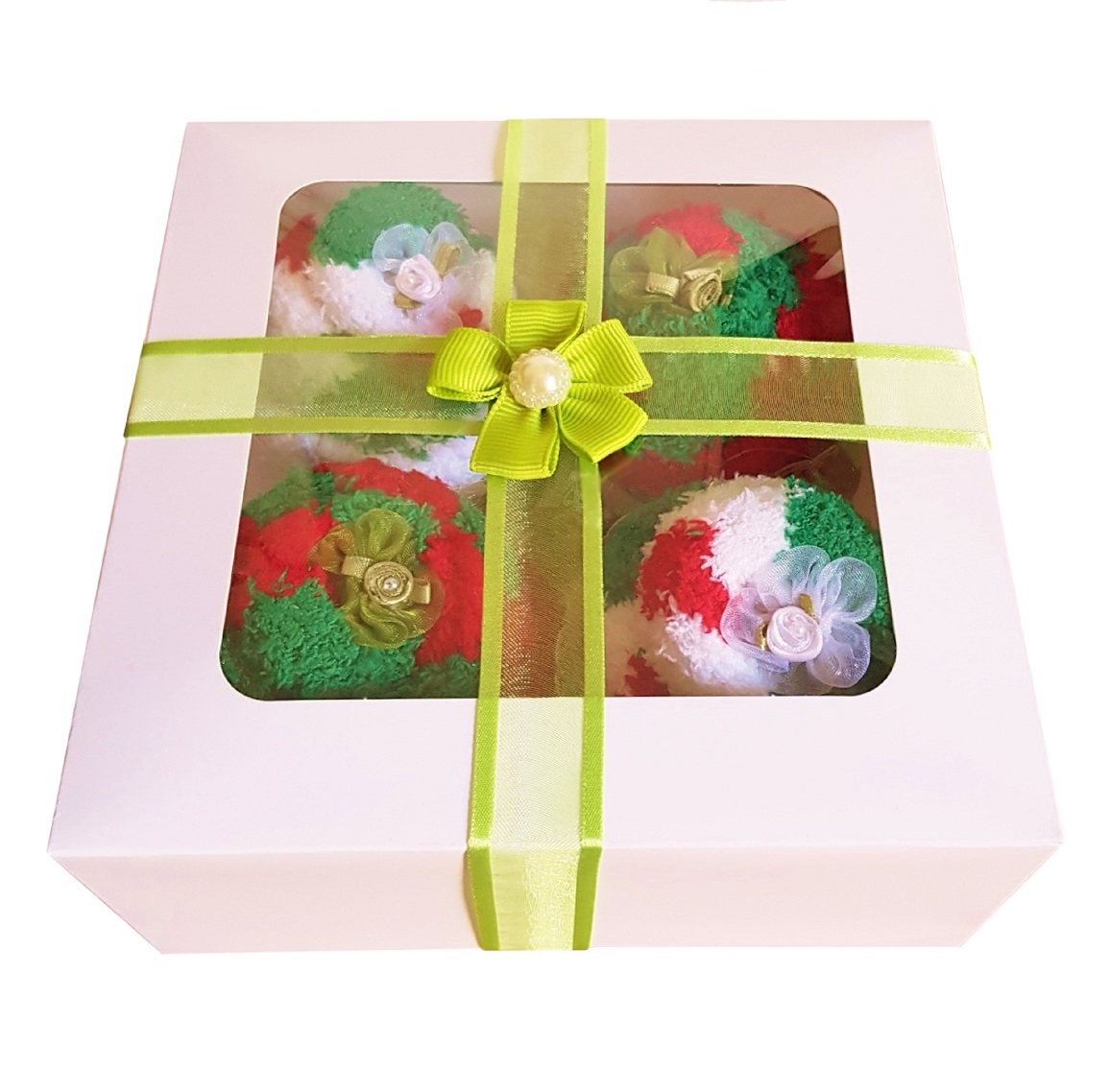 Women's ' Christmas Cozy Sock' Cupcakes, Green Ribbon Gift Box