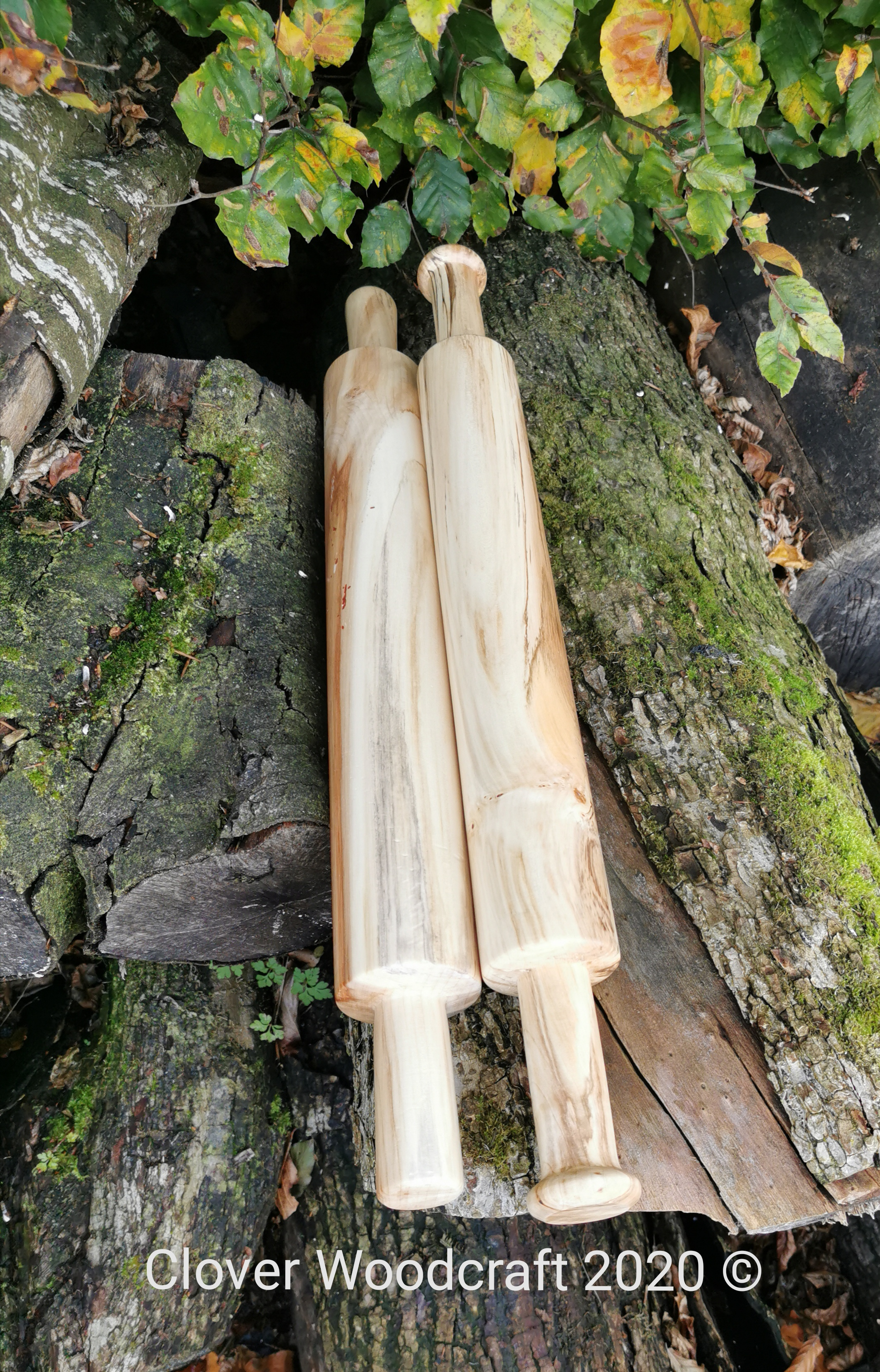 Irish Spalted Chestnut Wood Turned Rolling Pins