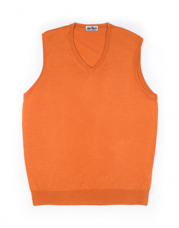 V-Neck Silk & Cashmere Vest Orange 01