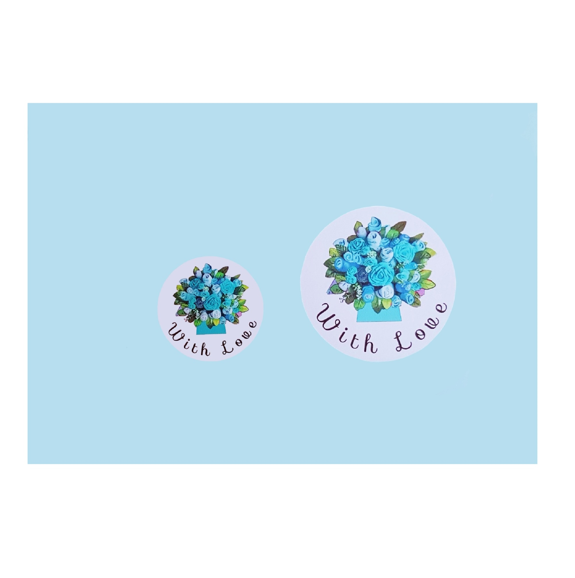 """With Love"" Stickers - Blue Floral Bouquet"