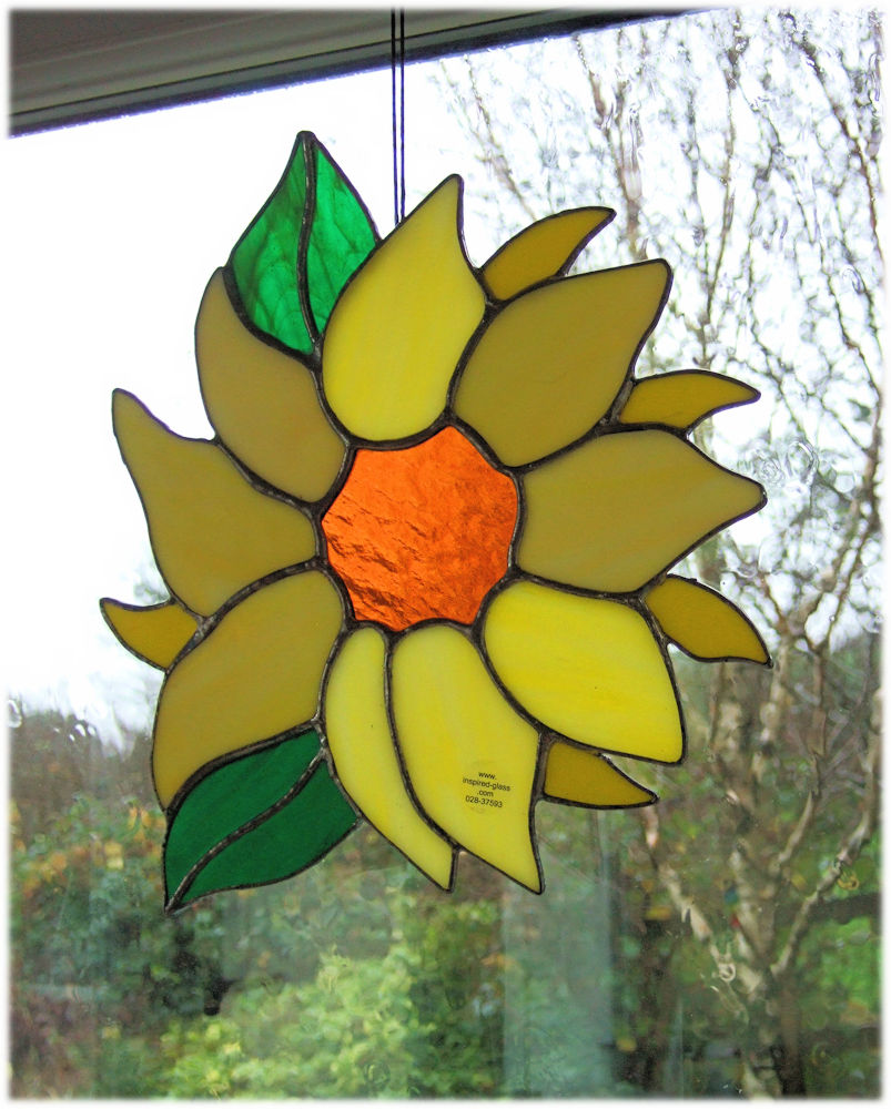 Stained-glass 'Sunflower' window-panel - one only!