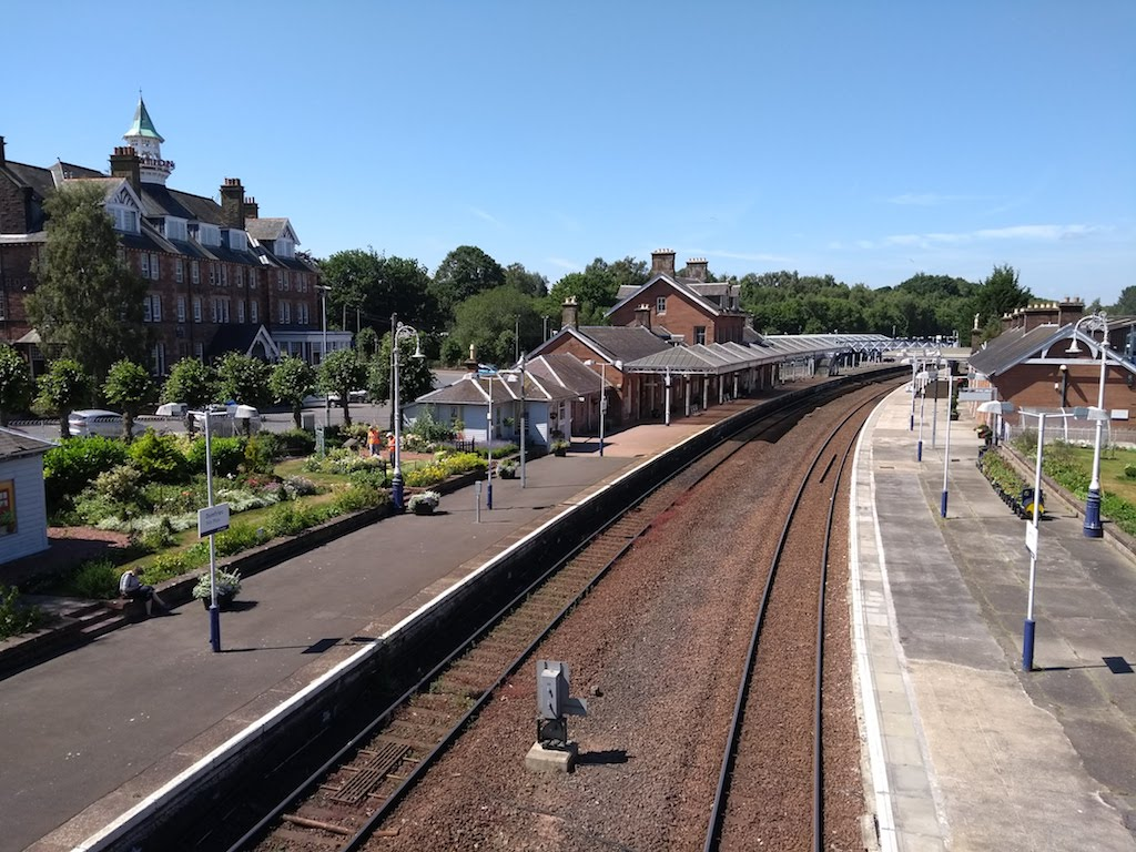 The north and south lines at Dumfries Railway Station, north to Glasgow and south to Carlisle