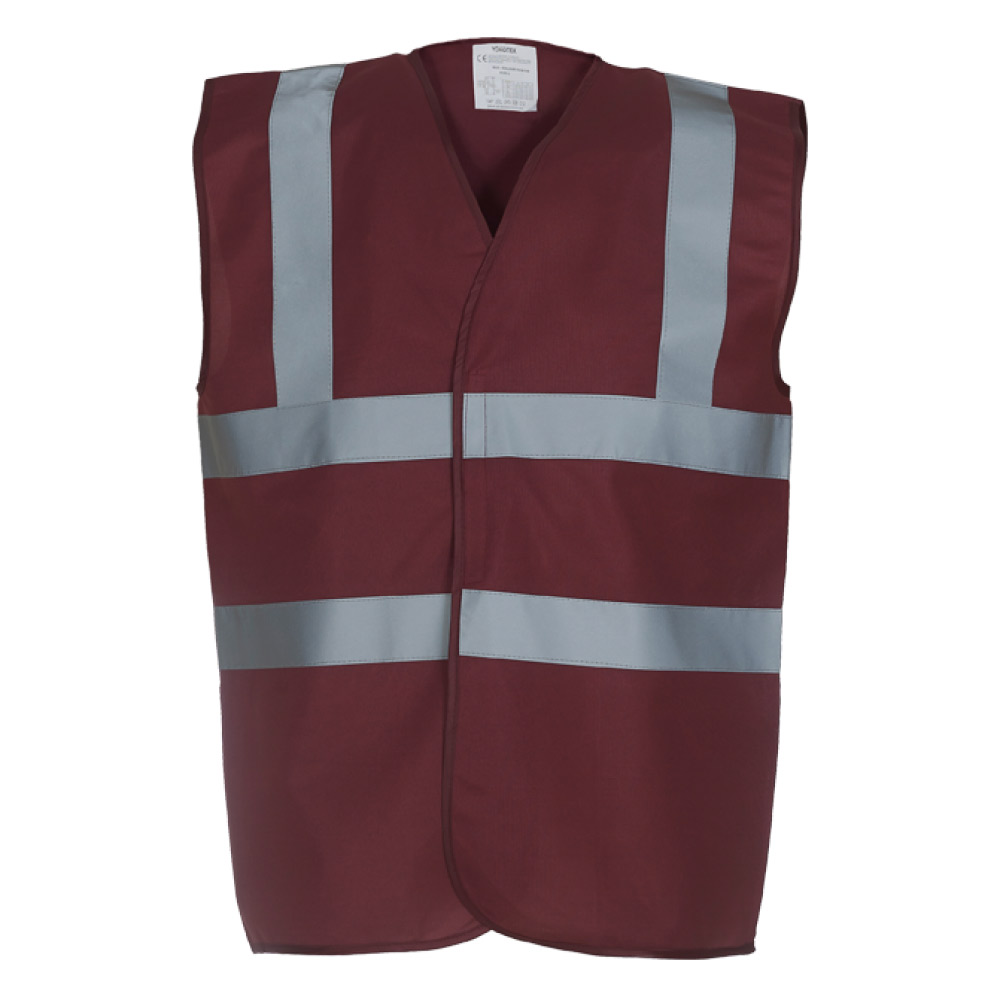 High Visibility Burgundy Safety Vests