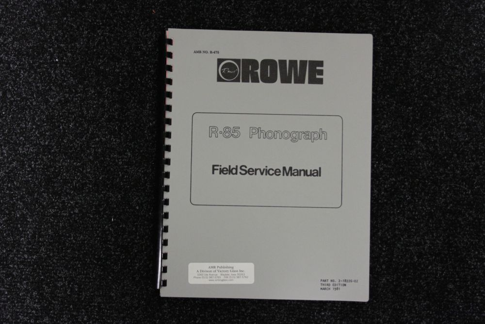Rowe - Field Service Manual - Model R85