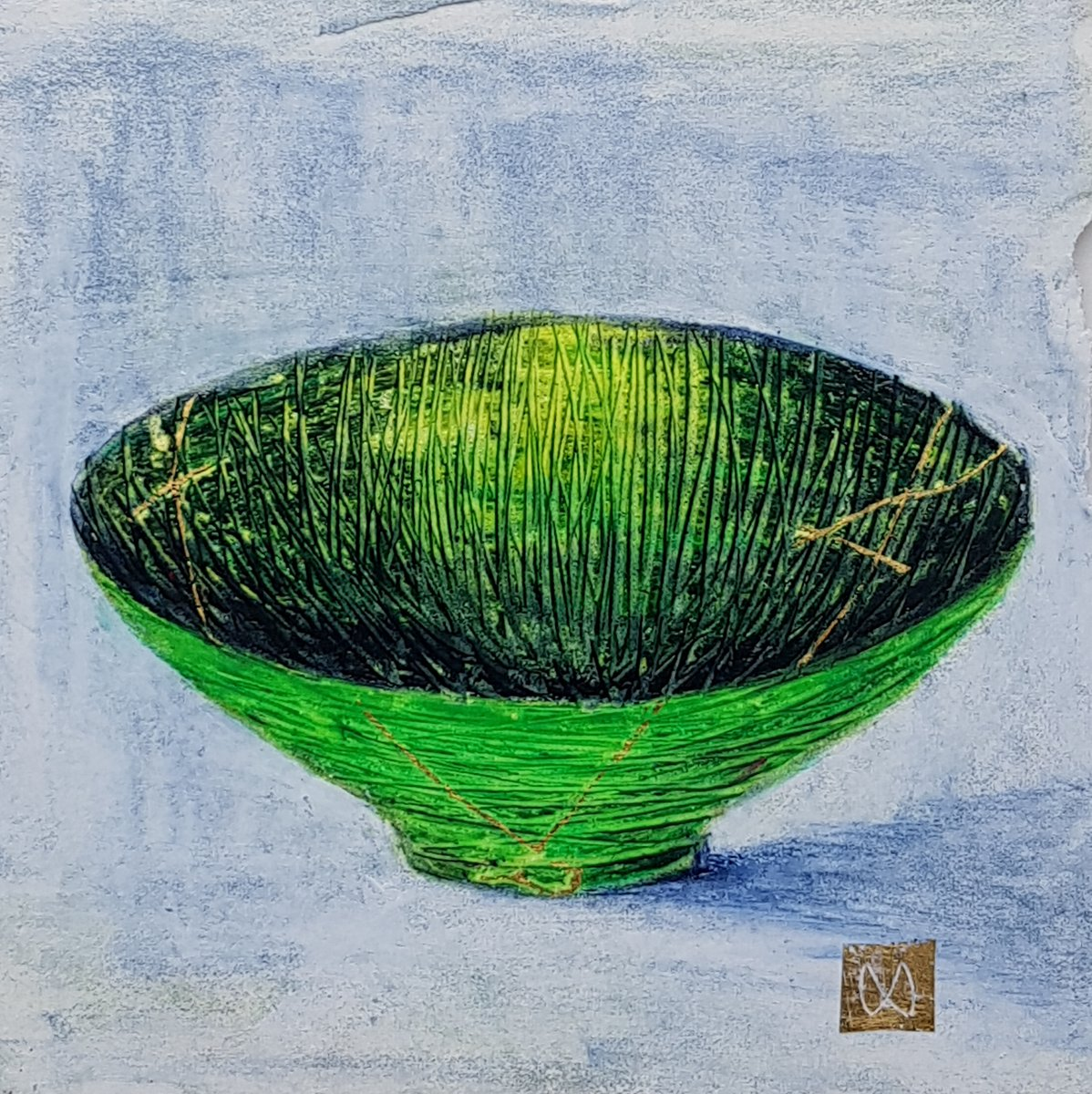 painting of Japanese kintsugi Summer tea bowl with gold by Irish artist green grass
