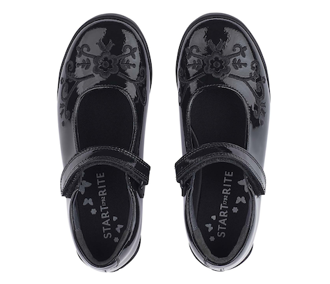 Start Rite black patent leather girls shoes with embossed pattern