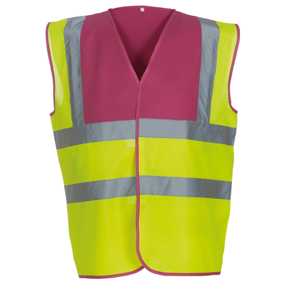 Raspberry Yoke & Yellow Hi Vis Safety Vests