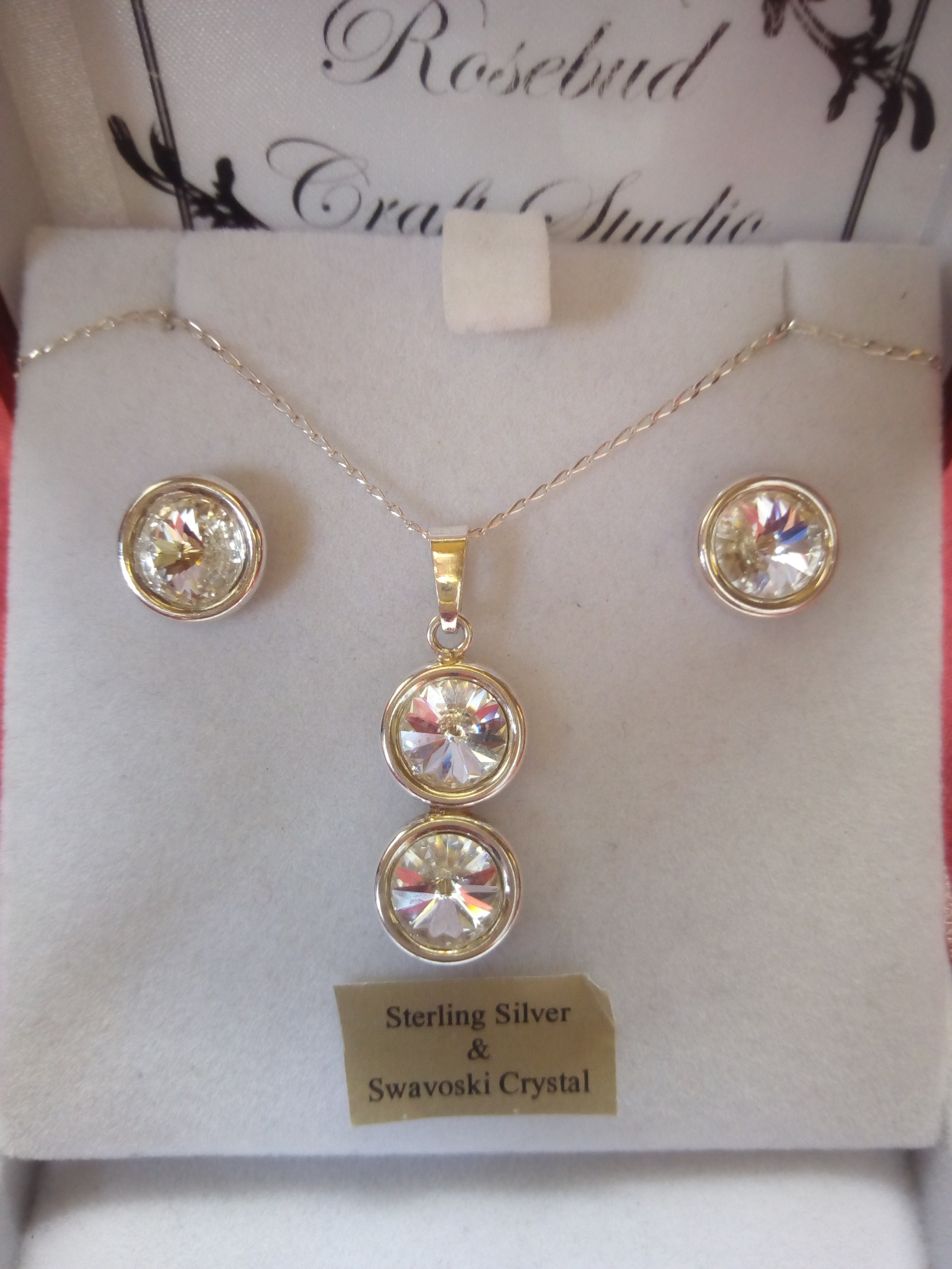 Crystal pendant and earring set