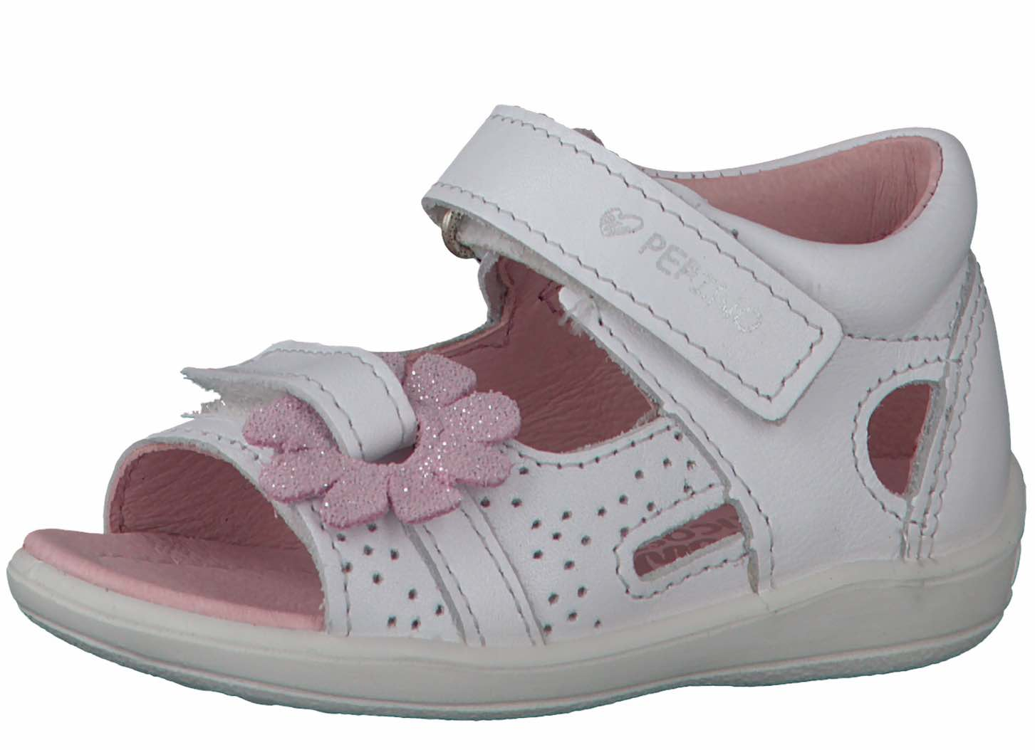 Baby girl white leather sandal with pink flower