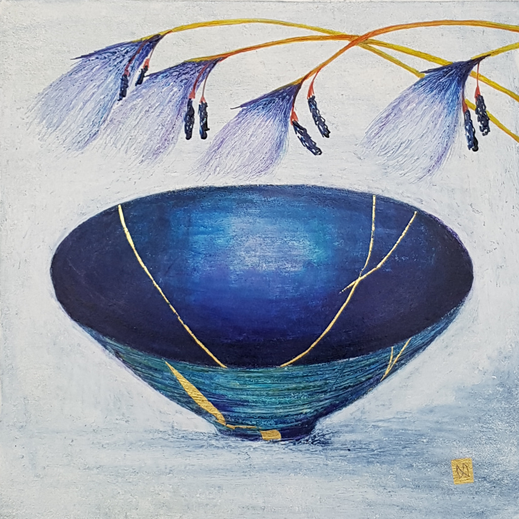 Contemporary painting of a aqua blue indigo kintsugi bowl withbog cotton flowers and  gold repair.