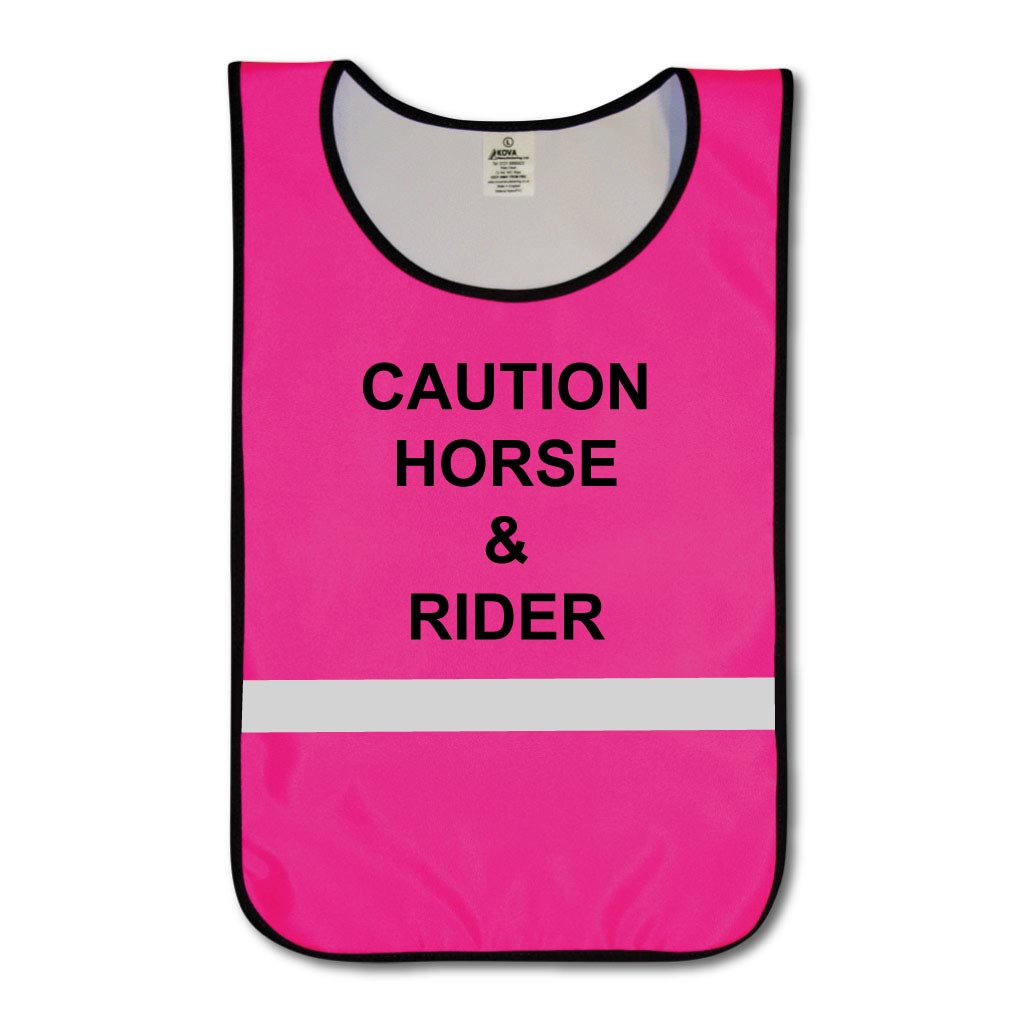 KT0007 Hi Vis Pink Caution Horse & Rider tabard with reflective strips.