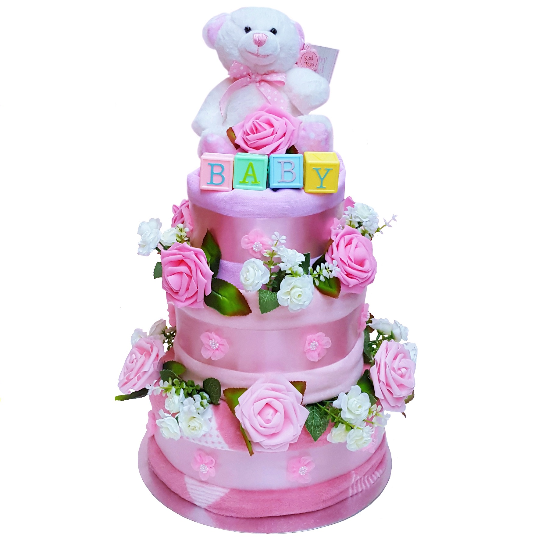 Beautiful Pink Nappy Cake for a Girl