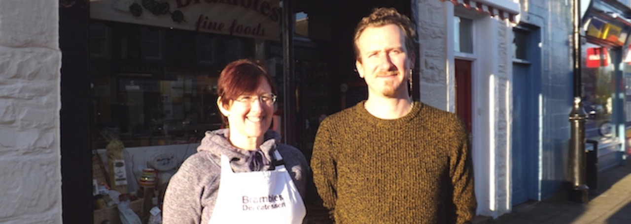 Carrie Merrick and John Higgins of Brambles Delicatessen of Kirkcudbright