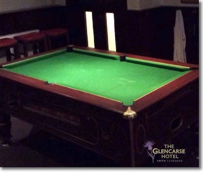 The pool table at The Glencarse Hotel and Restaurant near Perth, Scotland