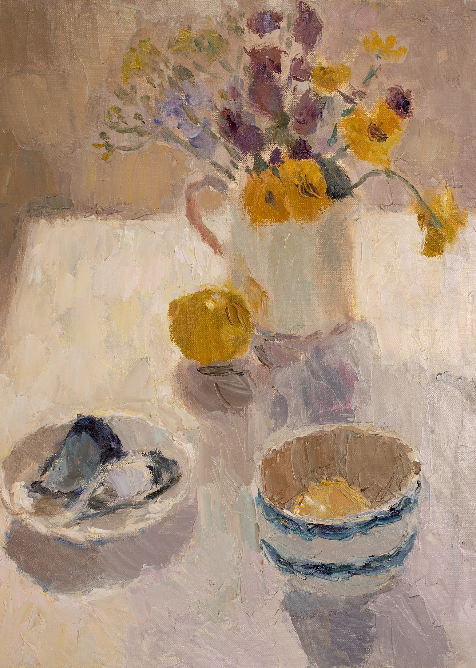 Summer Flowers with Blue Striped Bowl