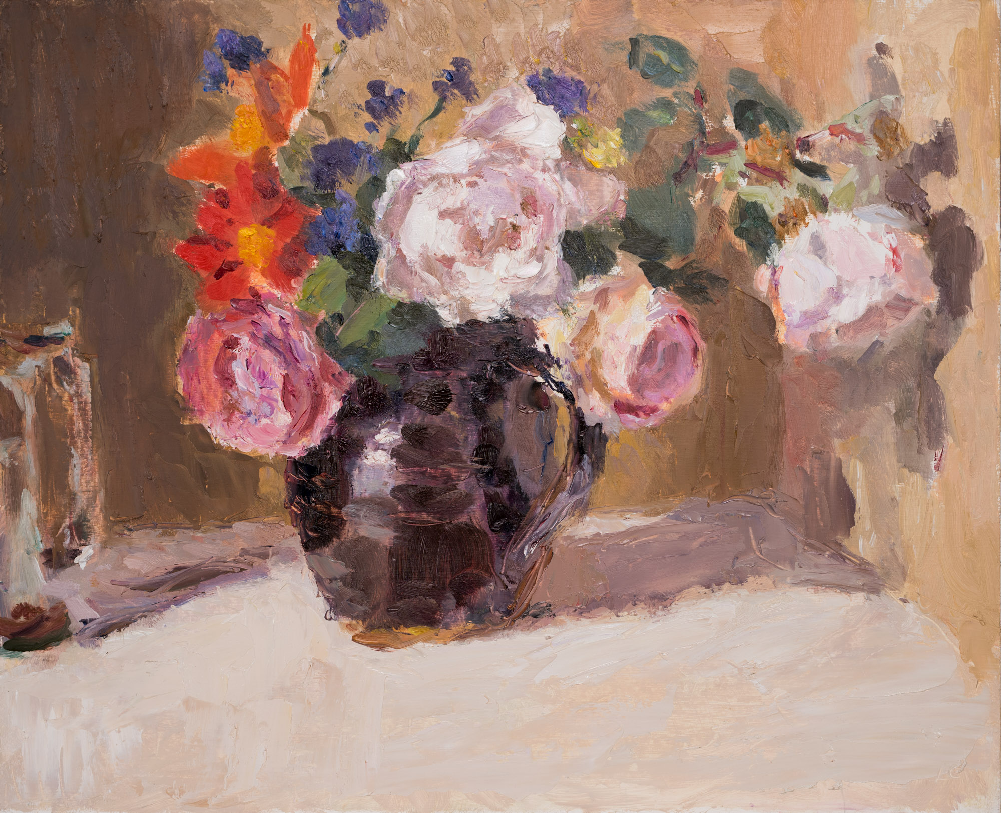 Roses and Dahlias in a Dark Brown Jug, Oil on Board, 41cm x 50.5cm  SOLD