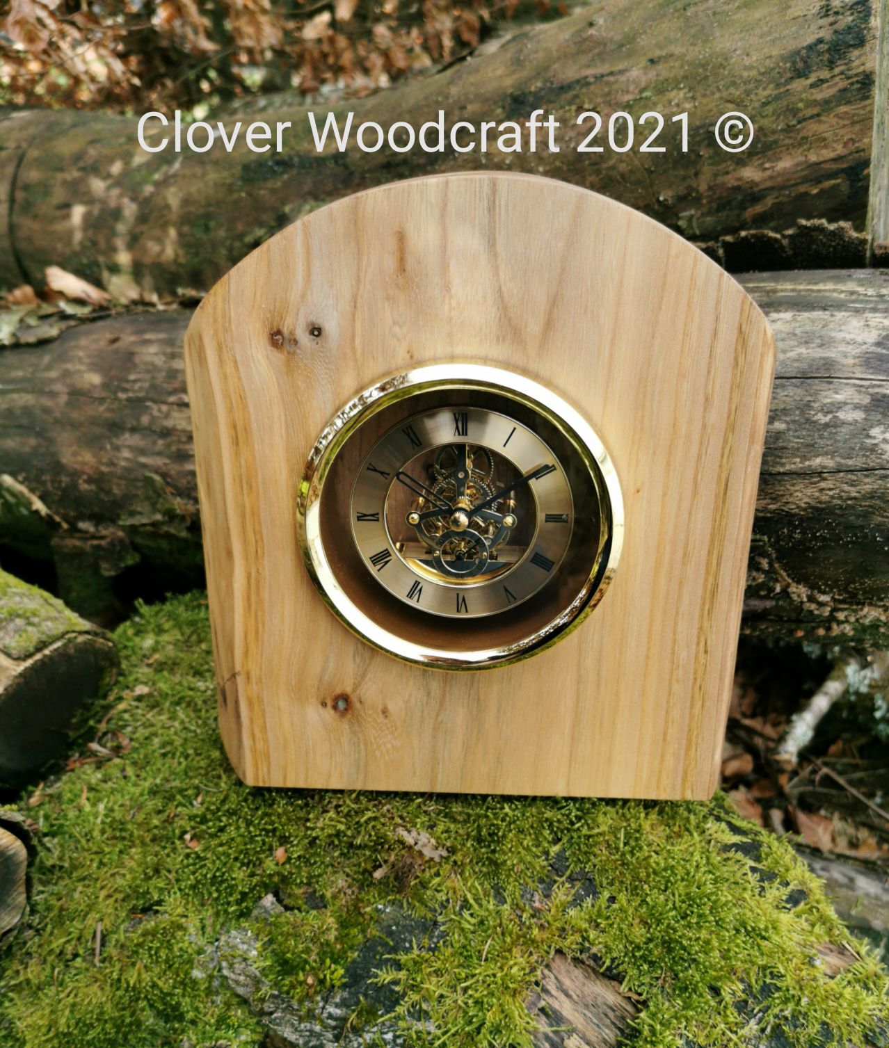 Handmade Wood Carved Irish Elm Mantel Clock