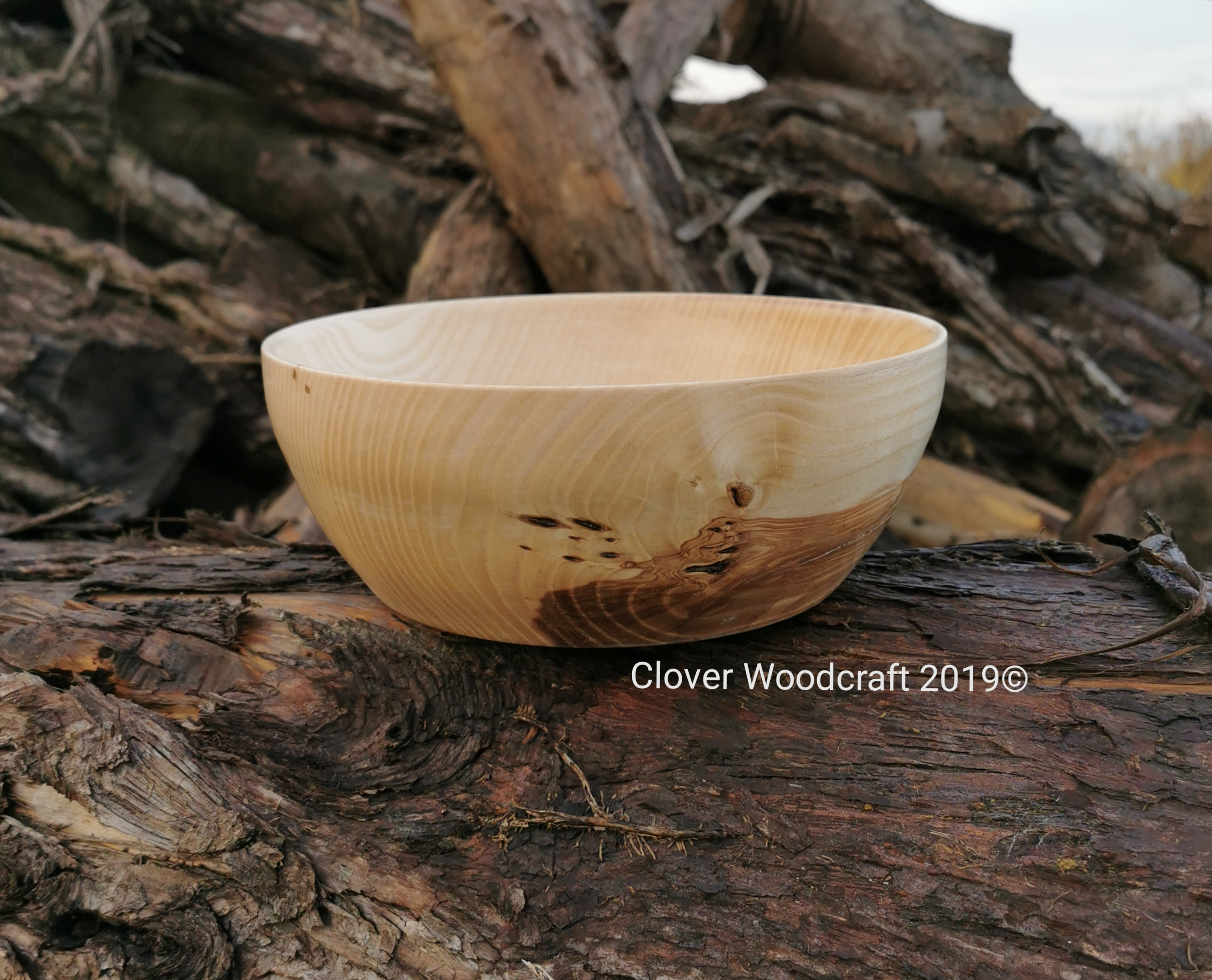 Irish Olive Ash Salad Wood Turned Bowl .